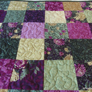 Plum Green Quilted Table Topper, Floral Quilted Table Runner, Quilted Table Topper Mums Pink Green Gold