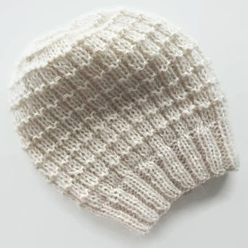 Warm White Hat made of pure wool and mohair, handmade in Italy, soft and comfortable hand knitted beanie hat