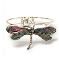 Beautiful Abalone Metal Hinge Dragonfly Bangle Bracelet, Women's Accessories