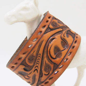 Western Cuff Bracelet - Floral Tooled Leather Snap Bracelet - Size Large