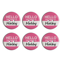 Haley Hello My Name Is Plastic Resin Button Set of 6