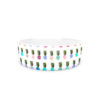 "Monika Strigel ""Pineapple People"" White Multicolor Pet Bowl"