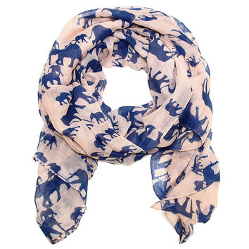 Mama and Baby Elephant Scarf in Blush Pink and Deep Blue