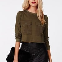 Missguided - Cilla Cropped Front Pockets Sweater Khaki