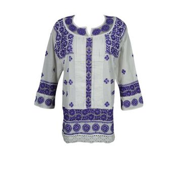Mogul Womens Indian Cotton Tunic Blouse White Beautiful Floral Embroidered Long Sleeves Bohemian Ethnic Kurti - Walmart.com