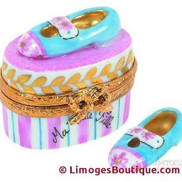 Mary Jane Shoes: Baby Blue Limoges Boxes