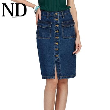 Knee-Length Women Denim Skirts Frount Button Fashion Ladies Pencil Jeans Skirt with Pockets