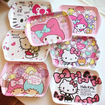 Cheap Creative HELLO KITTY cute cartoon small serving tray and tapas plate refreshments box cartoon dinnerware character dish