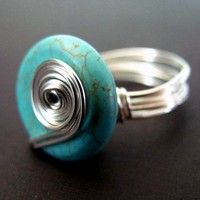 Ring FREE SHIPPING Wire Wrapped Turquoise by PolymerPlayin on Etsy