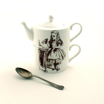 Alice Coffee for 1 in Wonderland Cup Teapot Pot Set Drink Me Bone China Tea or Coffee Whimsical Lewis Carrol White Brown Cup