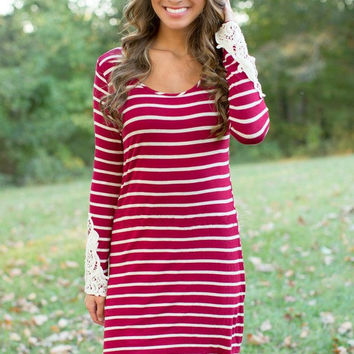 Striped Long Sleeve Mini Dress with Laced Cuffs