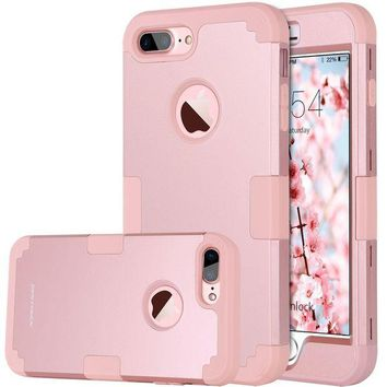 DCCK2JE iPhone 8 Plus Case, iPhone 7 Plus Case, BENTOBEN Heavy Duty Slim Shockproof Drop Protection 3 in 1 Hybrid Hard PC Covers Soft Rubber Bumper Protective Case for iPhone 8 Plus / 7 Plus Cute Rose Gold