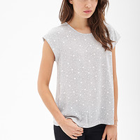 LOVE 21 Colorblocked Dot Print Top