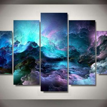 Abstract Clouds Cotton Candy 5-Piece Wall Art Canvas