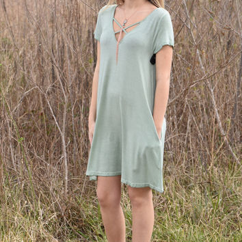 Sage washed strappy tunic dress with pockets