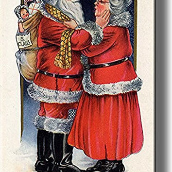 Santa Claus Going to Work Picture on Stretched Canvas, Wall Art Decor, Ready to Hang!