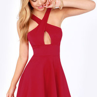Cross Over Backless Red Dress