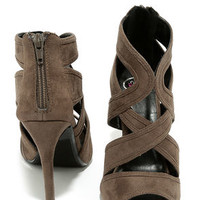 For You I Will Dark Taupe Suede Caged Heels