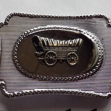 Silver tone Belt Buckle with Brass tone Wagon