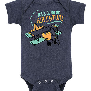 Heather Blue 'Let's Go on an Adventure' Bodysuit - Infant