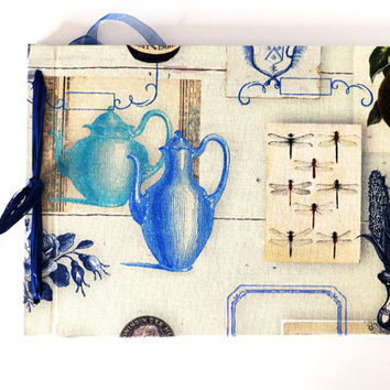 Cottage Guestbook Antique Pottery Journal Guest Book blue Visitors Journal Luxury Recipe Book, Sketchbook, Gift for Her,Blank Book, avedouda