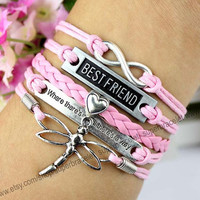 Where there is a will there is a way bracelet, infinity bracelets, bracelets, best friend love, dragonfly bracelet, girlfriend and BFF