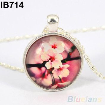 Women's Silver Plated Flower Leopard Butterfly Glass Dome Cabochon Chain Necklace 02O5
