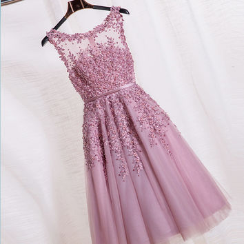 2016 New Arrival Appliques Tulle Short Cocktail Dress Zipper Back A-line Pearl Beading Wedding Reception Vestido Party Dresses