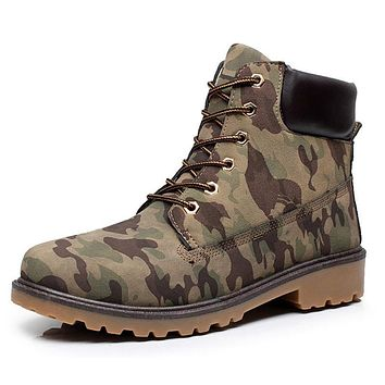 Retro Lace-Up Military Combat Leather Boots