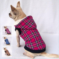 SALE Winter Dog clothes scottish plaid chihuahua clothing for dogs Jackets 100% Cotton Pet Products Cheap price XS-XXL