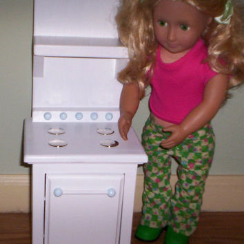 Stove oven Handcrafted for American Girl 18 inch doll white  with blue trim