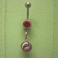 Belly Button Ring - Body Jewelry - Ying Yang with Light Pink Gem Stone Belly Button Ring