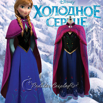 Disney Frozen Snow Princess Anna Outfit Coronation Dress Cosplay Costume