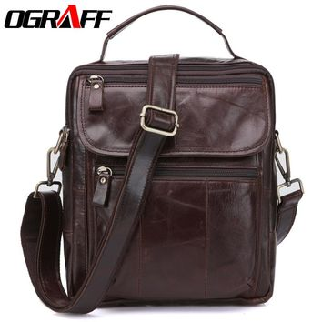 OGRAFF Genuine Leather men Bag Messenger Bags male Designer Handbags Famous Brand Briefcases Crossbody Men Leather shoulder bag