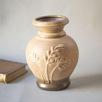 Light Brown Scheurich Keramik vase pottery 501-20 vintage, floral pattern W. Germany ceramic vase 70s, matte art-pottery home decor gift