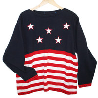 Oversized Boat Neck 4th of July Patriotic USA Flag Ugly Sweater