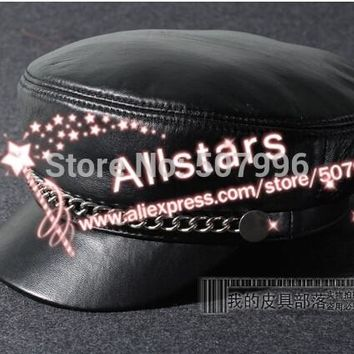 fashion women casual chain genuine leather hat vintage cap motorcycle sheepskin material cap D-1854