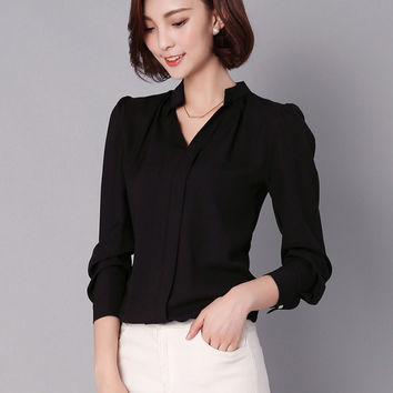 5 Colors 2017 Solid Blouse Women White OL Shirt Chiffon Women Work Wear V-neck Ruched Long Sleeve Tops Pullover Plus Size T6127