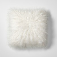 White Mongolian Faux Fur Throw Pillow - Project 62™