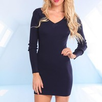 Navy Blue Long Sleeve Knit Dress with V-Neckline