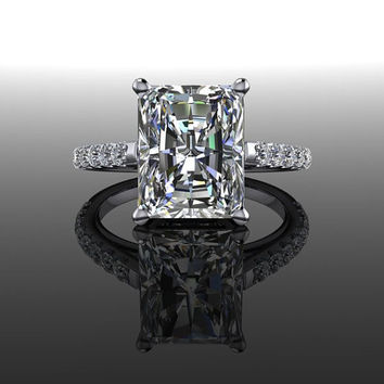 Forever Brilliant Moissanite and Diamonds Radiant Cut Engagement Ring 4.25 CTW