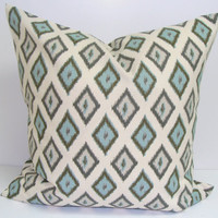 Pillow.Blue and Brown.18x18 inch.Pillow Cover.Printed Fabric Front and Back.Diamond Design.Pillow