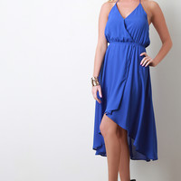 High Low Tulip Hem Chiffon Halter Dress