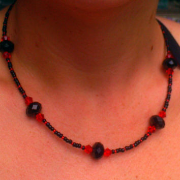 Black & Red Glass Crystal Necklace
