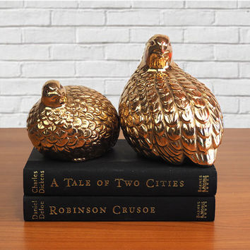 PAIR Otagiri Japan Gold Ceramic Quail, Ptarmigan, Pheasant, Partridge Figurines | Hollywood Regency Home Decor