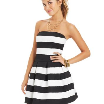 B Darlin Juniors' Striped Textured Dress