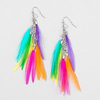 Pump Up Rainbow Feather Earrings | Claire's
