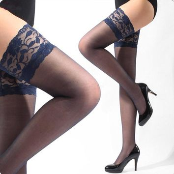 Lace Band Thigh High Stockings