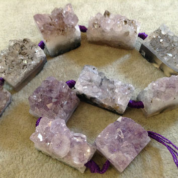 Chunky Amethyst Druzy Geode Slice Beads, 18mm x 29mm, approx. 10 beads per strand.