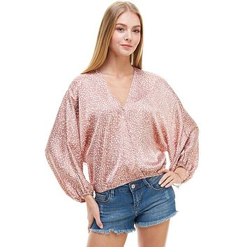 Dot Print Dolman Loose Sleeves Surplice Blouse